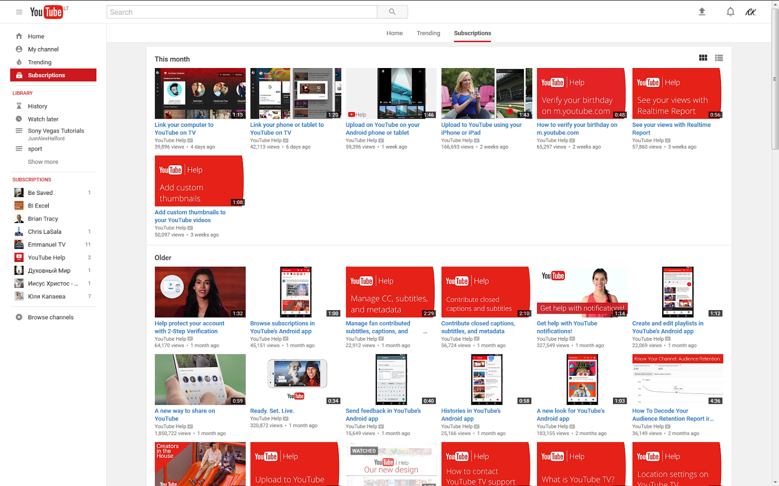 YouTube not showing my full subscription list - YouTube Help