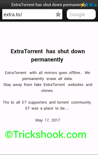 ExtraTorrent portal announced it has close down