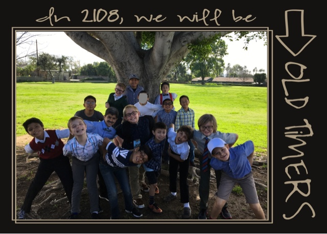 Third grade boys celebrating the 100th day of school.
