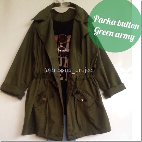 Parka Cewek Murah Button Green Army ~ Jaket Parka Murah f181a69088