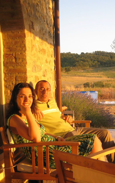 Giovan Battista Basile and wife Ilaria, winemaker at the Basile winery, Cinigiano
