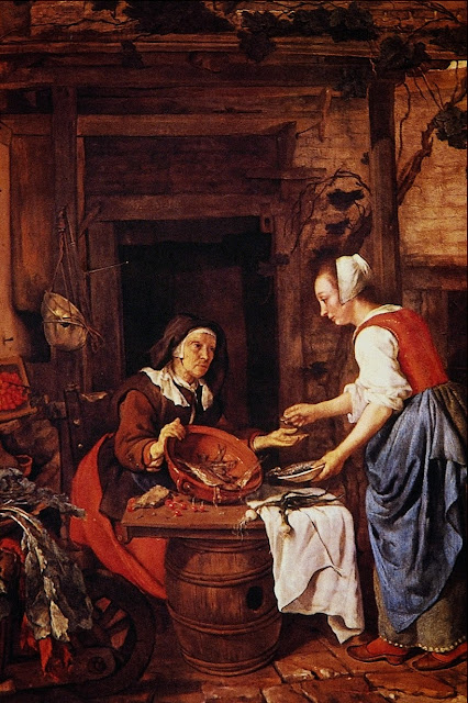 Gabriel Metsu - Old Woman Selling Fish