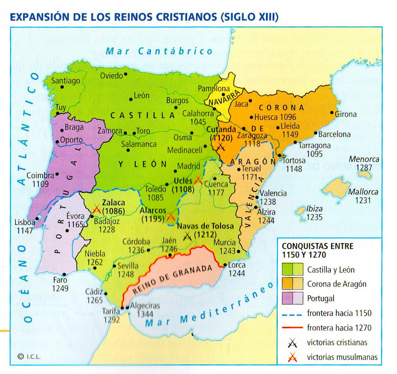 Expansin de los reinos cristianos siglo XIII  Historia de Espaa