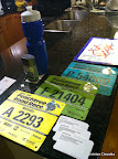 Everything all laid out the night before: water bottle, bibs, MARTA cards, body glide, map of the start area. We're ready!