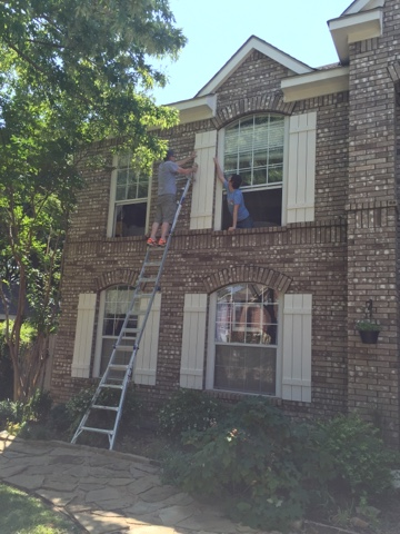 Let 39 s add sprinkles our new exterior shutters for Brick houses without shutters