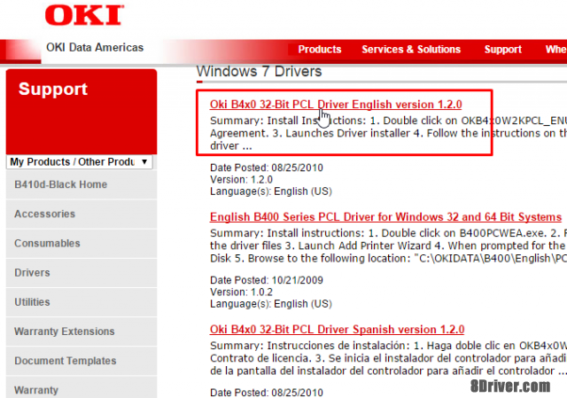step 3 download OKI B721dn driver