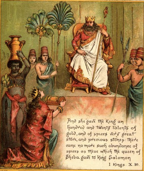 Queen Sheba Gives Gifts To King Solomon, King Solomon