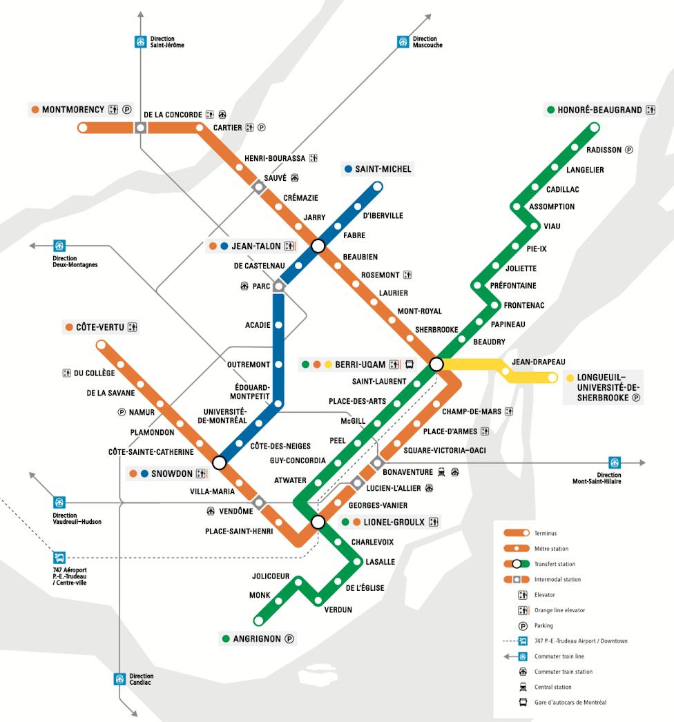 Jak dojechać z lotniska do centrum Montrealu, schemat sieci metra w Montrealu, Montreal, Kanada