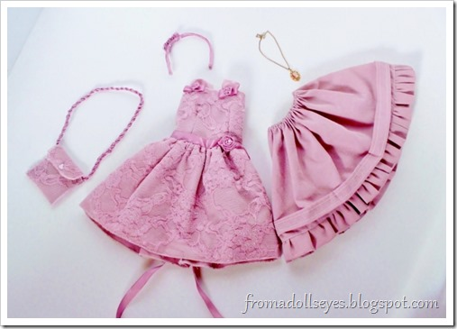 Pink lace dress for a ball jointed doll with accessories.  A complete outfit!