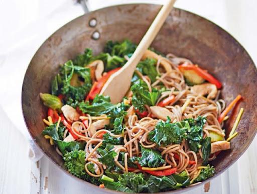 Chicken, kale & sprout stir fry