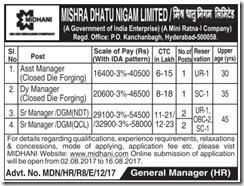MIDHANI Advvertisement 2017 www.indgovtjobs.in