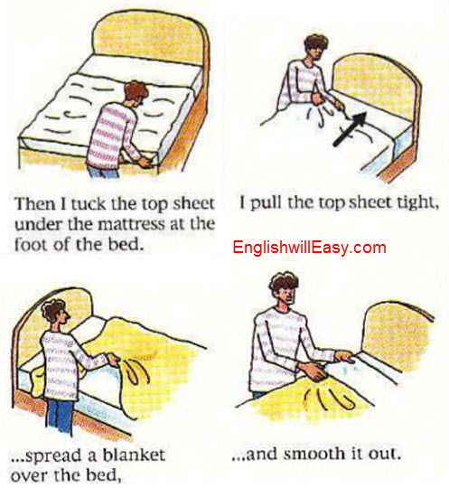 Making a bed - English Picture Dictionary for Everyday Activities