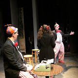 """Tim Orcutt, Jennifer Van Iderstyne and Paul Dederick in """"Words, Words, Words"""" as part of THE IVES HAVE IT - January/February 2012.  Property of The Schenectady Civic Players Theater Archive."""