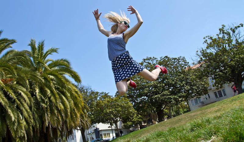USA Skirt in grassy field