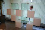 Mobile libreria Lago mod. Net.  Per rinnovo esposizione il mobile libreria bifacciale mod. Net di Lago è in vendita al prezzo di  €. 2.950 ( prezzo di listino 4.311).  Il mobile libreria Net Lago come in foto, è composto da 10 cubi da cm. 40, con ante davanti e dietro; 7 cubi sono in legno lacccato bianco lucido e 3 cubi sono in vetro.  Le dimensioni sono cm.230 x 40 h. 161, la disposizione dei cubi può essere variata a piacere con possibilità di modificare le dimensioni del mobile libreria secondo le proprie esigenze.  Trasporto e montaggio compreso nel raggio di 50 Km. in Lombardia nelle provincie di Bergamo, Milano, Brescia, Lecco, Como