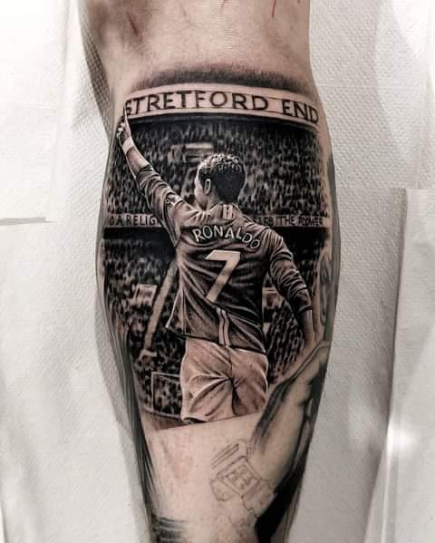 Here I added Christiano Ronaldo to Josh's leg - Rob Richardson Tattooartist