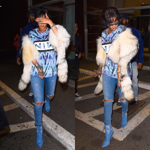 Rihanna wears vintage Nine Inch Nails Tee at West Village