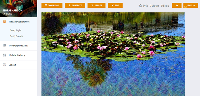 Google's Deep Dream Generator tool