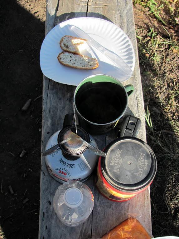 Breakfast--banana bread and coffee