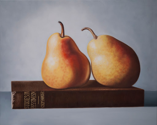 "Two Pears and a Book 24"" by 30"" oil on canvas. Artist Judy Prisoc"