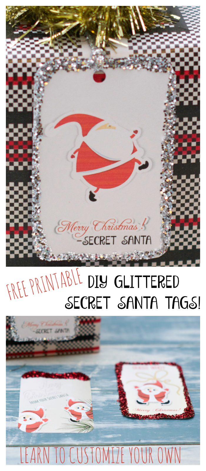 DIY Glittered secret santa tags