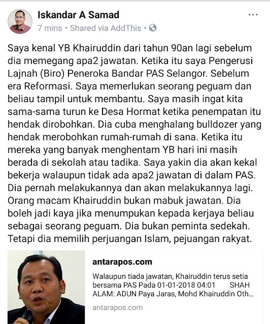 YB Khairuddin Istiqamah Bersama Perjuangan Islam