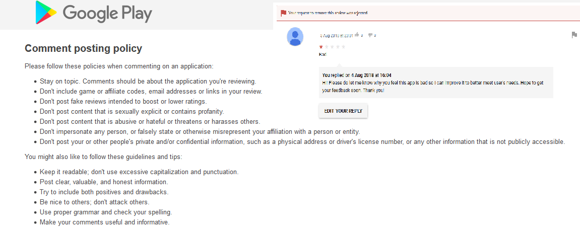 Request to remove fake review on my app denied?? - Google