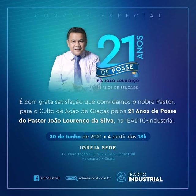 Igreja ADTC do industrial irá comemorar os 21 anos de posse do pastor João Lourenço