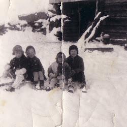 Unger på kjelke i snøen