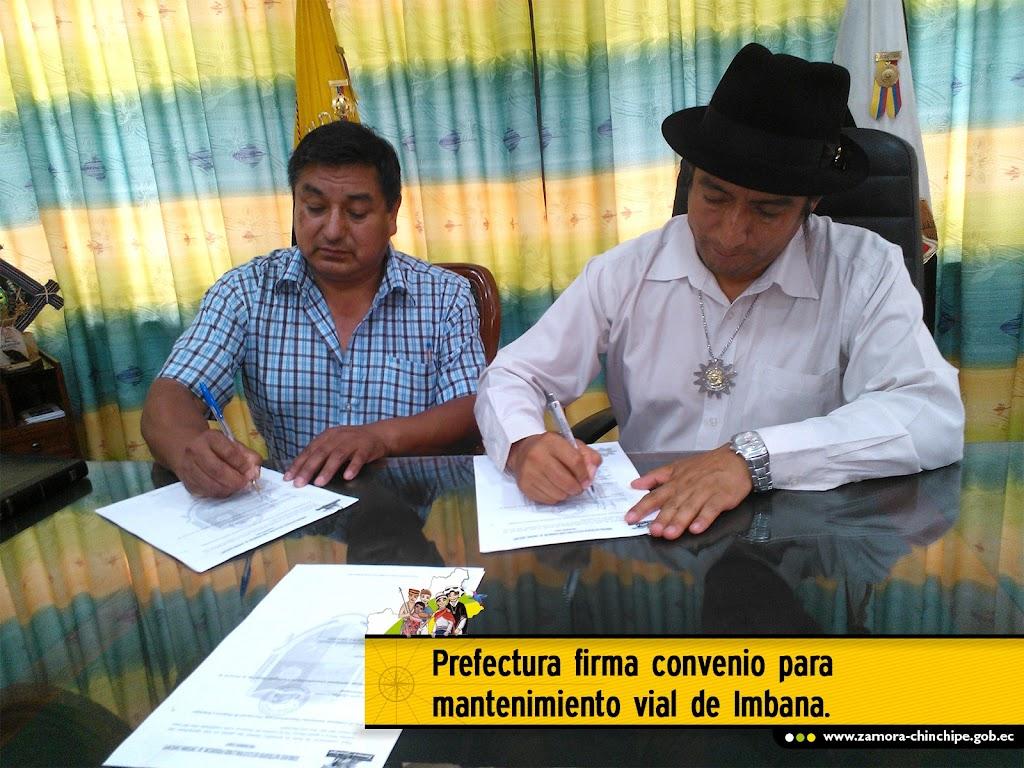 PREFECTURA FIRMA CONVENIO PARA MANTENIMIENTO VIAL DE IMBANA