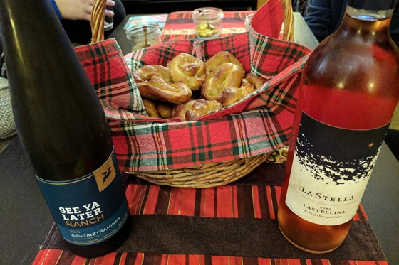 Homemade soft pretzels with See Ya Later 2015 Gewurztraminer & LaStella 2015 Rose