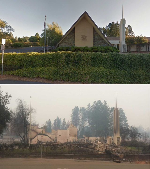 The Church of Jesus Christ of Latter-day Saints, on the corner of Buschmann and Clark roads in Paradise, California in July 2012 (above) and after the wildfire in November 2018 (below). Photo:  Google Street View / Cal Fire