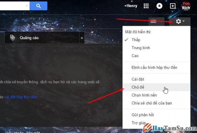 Chọn chủ đề - đổi giao diện gmail