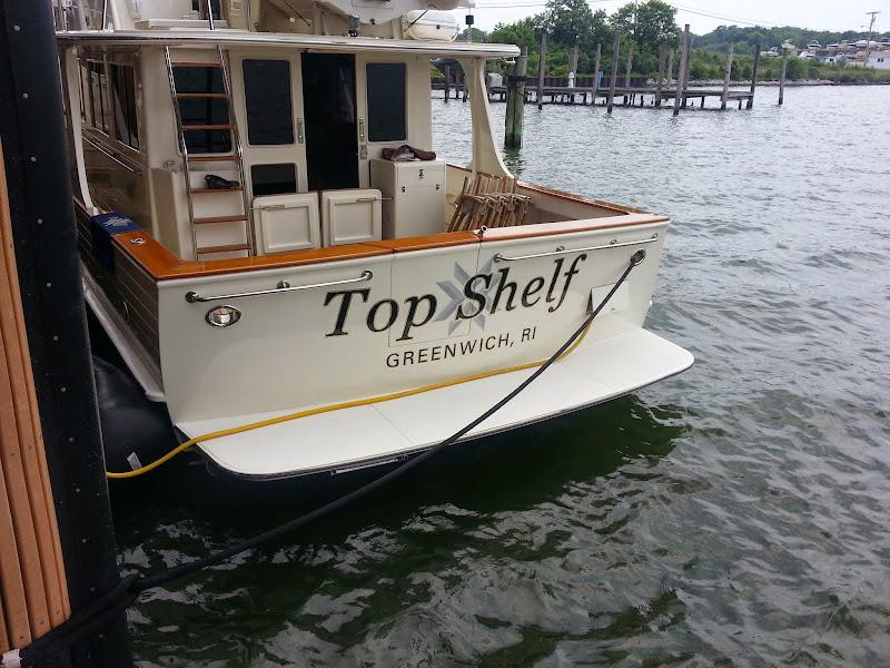 gold leaf boat lettering - Top Shelf