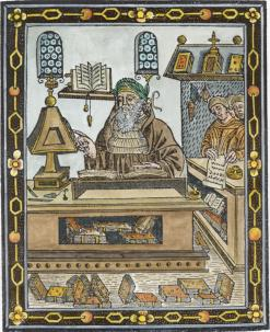 Albertus Magnus In His Study From Liber Secretorum Alberti Magni 1502, Emblems Related To Alchemy