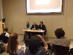 Fanny Ochoa, Mansur Escudero y Juliám Zapata durante una conferencia sobre la visión de la mujer en el Islam