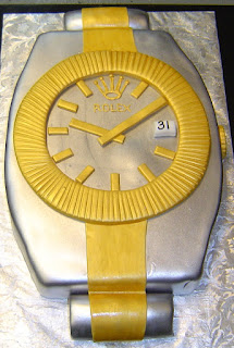 Giant gold and silver Rolex watch custom men's birthday cake design