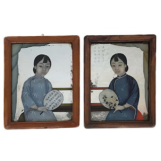Chinese Reverse Painted Mirror Portrait Pair