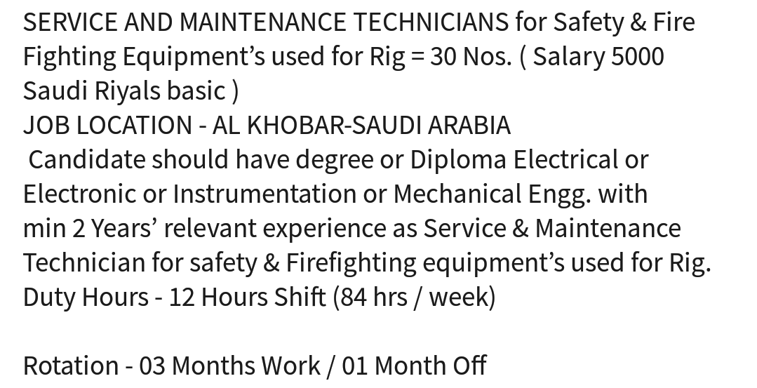 Oil and Gas Jobs: 90/30 Rotation (30 Vacancies) Safety and Fire
