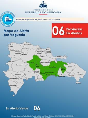 COE declara el Gran Santo Domingo y cinco provincias en alerta verde por vaguada