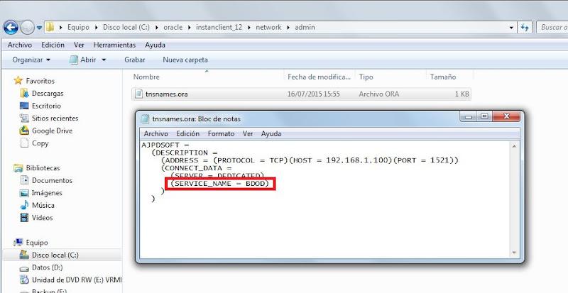 Configuración equipos cliente y aplicaciones de acceso a Oracle tras cambio de SID o DBNAME