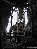 Exiting the mine under the headframe.