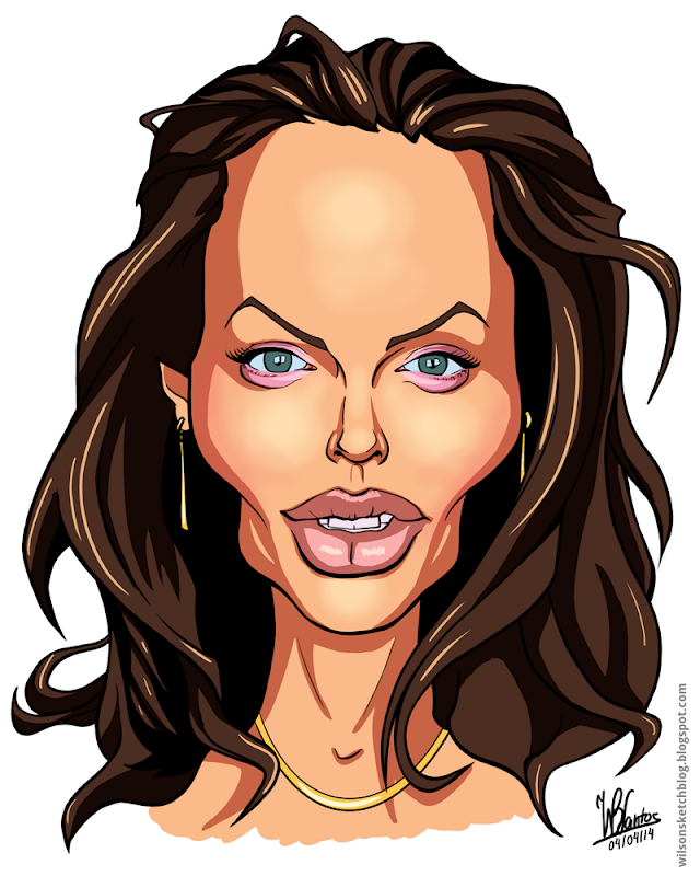 Cartoon caricature of Angelina Jolie, using Krita.