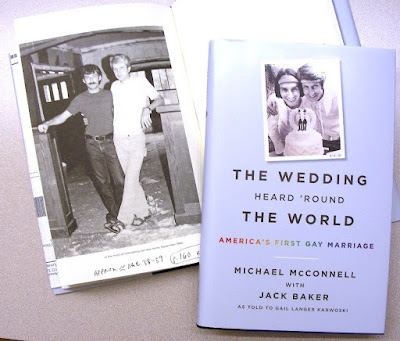 Sep. 1980 photo of Jack and Mike wearing sandals p. 152 of their book 'Wedding Heard 'round the world,' and book jacket