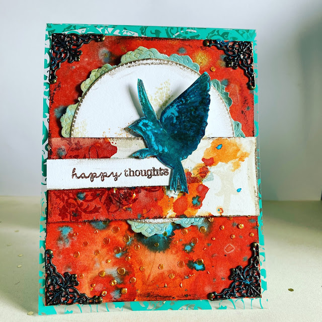 Mixed Media Card using Tim Holtz stamps and Distress products