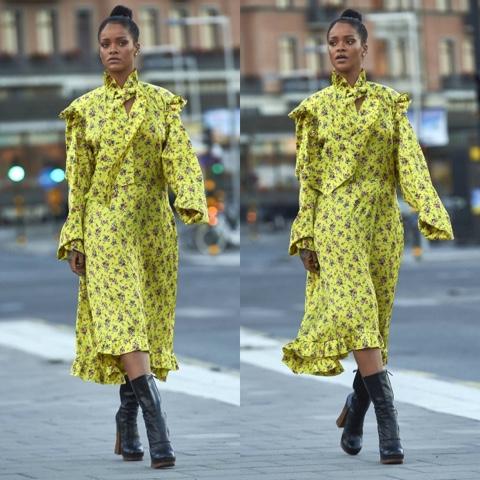 Rihanna in Vetements Ruffle-Trimmed Floral Print Dress