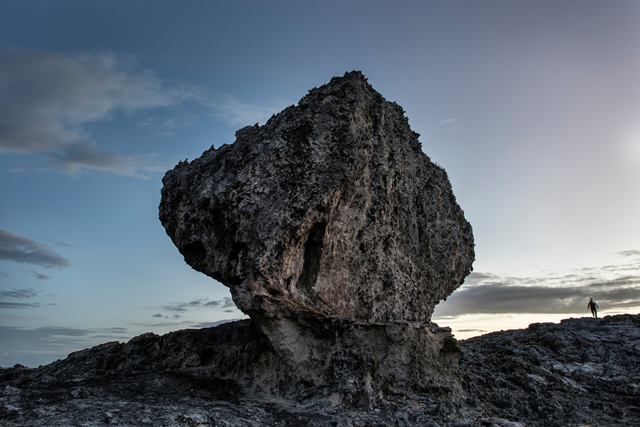 A massive boulder on a coastal ridge in North Eleuthera, the Bahamas. A new research paper claims it was most likely moved there by powerful storms during the last warm period of Earth history, 120,000 years ago, and warns that such stormy conditions could recur because of human emissions of greenhouse gases. Photo: Charles Ommanney / The Washington Post / Getty Images