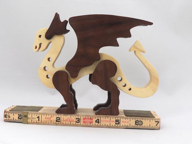 Handmade Wood Dragon Made From Poplar and Walnut Hardwoods