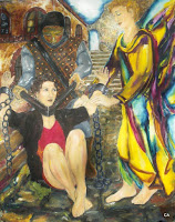 'The angel saves from being strangelt', oil on canvas, 43,3x 55 inches, 1995