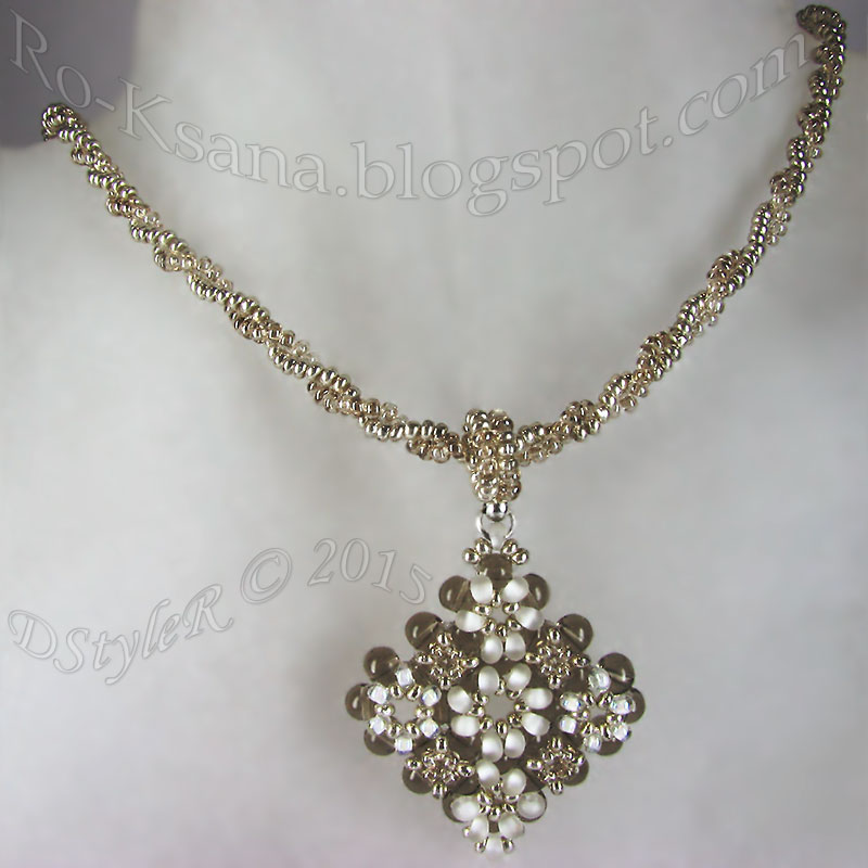 """Silvery Snowdrops"" seedbeads pendant   Right Angle Weave & 2-beads Herringbone rope Кулон монастырским плетением и жгут ндебеле"